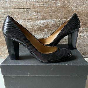 Ann Taylor Perfect Exotic Black Leather Heel
